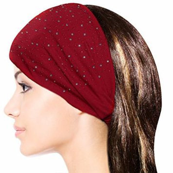Sparkling Rhinestone and Dots Wide Elastic Headband - Red