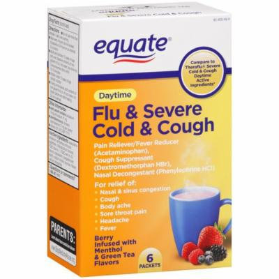 Severe Cold, Cough and Flu, Daytime, 6 Packets, By Equate, Compare to Therafllu Daytime Severe Cold & Cough