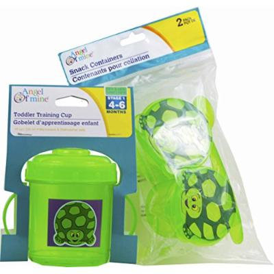 Toddler Training Cup and Snack Container Set (Green Turtle)