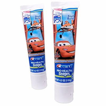 (2 Pack) Crest Pro-Health Stages Disney Pixar Cars and Planes Toothpaste Fruit Burst 4.2 Oz ea.