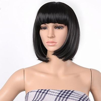 AGPtek® 33cm Short Straight Cosplay Disco Party Bob Hairstyle Wigs, 5 Colors (Black)