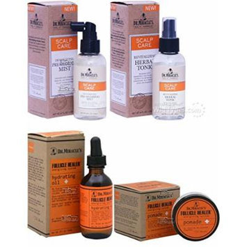 Dr. Miracles Scalp Care and Follicle Healer 4pcs Set (Herbal Tonic, Preshampoo Mist, Hydrating Oil, and Pomade) Includes 1 Free Jumbo NYX Pencil Color 610