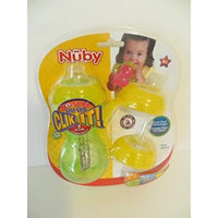 Nuby Sippy Cup 3 Stages of Drinking - It's Like Having 3 Different Cups - You Get 1 Sippy Cup with 3 Different Lids GREEN YELLOW Combination Ages 4 mo + SEE DEMO PICTURES FOR STAGES