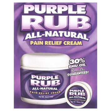 Purple Emu Purple Rub All Natural Pain Relief Cream O.T.C. 30% Emu Oil 4oz. Jar