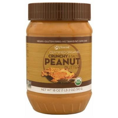 Vitacost Certified Organic Crunchy & Unsalted Peanut Butter - Gluten Free and Non-GMO 18 oz