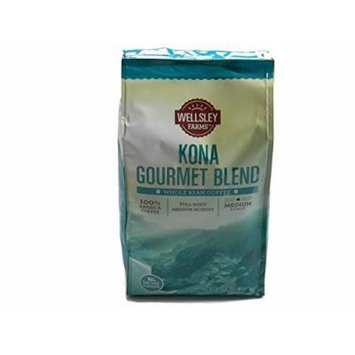 Wellsley Farms Kona Gourmet Blend 100% Arabica Whole Bean Coffee Value Bag 32 oz (2 lb)