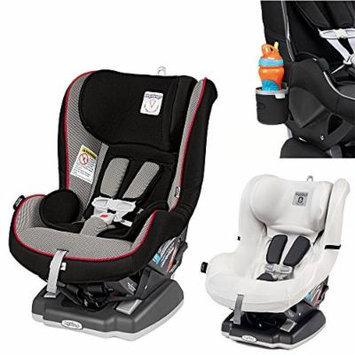 Peg Perego Primo Viaggio Infant Convertible Car Seat w Clima Cover, White & Cup Holder (Sport)