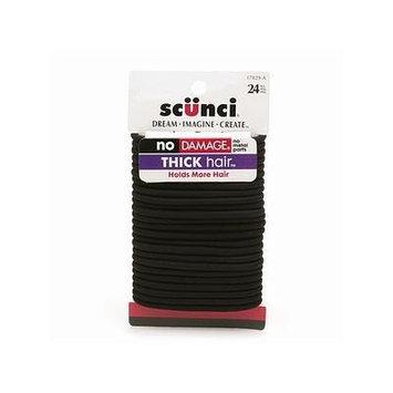 Scunci No Damage Thick Hair Elastics, Black 24 pcs