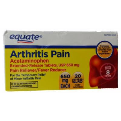 Equate Arthritis Pain Acetaminophen Extended-Release GelTabs Tablets USP 650mg, 20ct, Compare to Tylenol Arthritis Pain