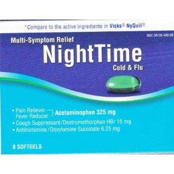 Multi-Symptom Relief Nighttime Cold & Flu, 8 softgels, Compare to active ingredient in Vicks Nyquil