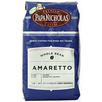 PapaNicholas Coffee Whole Bean Coffee, Amaretto, 10 Ounce