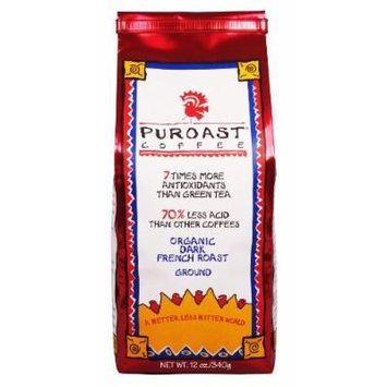 Puroast Low Acid Coffee Organic Ground, French Roast 12 oz
