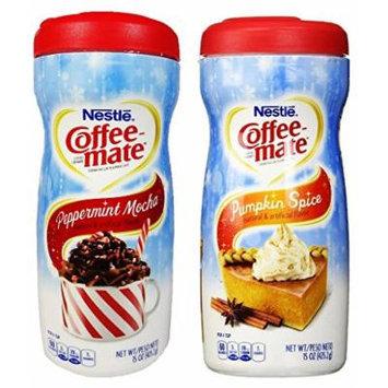 Nestlé Coffee-mate Peppermint Mocha + Pumpkin Spice Powdered Non-Dairy Creamers, 15 Ounce (COMBO)