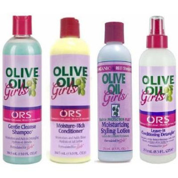 ORS Olive Oil Girls 4pcs Set (Gentle Cleanse Shampoo, Leave-In Conditioning Detangler, Moisture-Rich Conditioner, Moisturizing Styling Lotion)