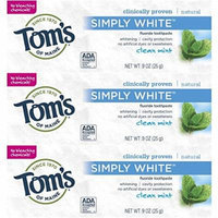Tom's of Maine Simply White Natural Fluoride Toothpaste Clean Mint 0.9 oz Travel Size (Pack of 3)