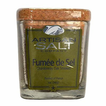 Fleur de Sel de Guerande - Smoked with Chardonnay Oak - Rare Gourmet Sea Salt in Glass Jar with Cork - 4.5 oz