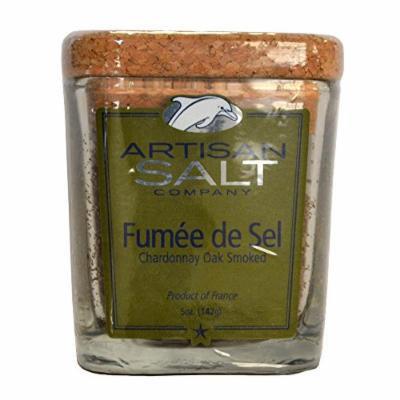 Fleur de Sel de Guerande - Smoked with Chardonnay Oak - Rare Gourmet Sea Salt in Glass Jar with Cork - 4.5 oz
