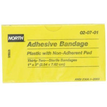 North by Honeywell 020701 Adhesive Bandage, 1-Inch x 3-Inch, Plastic, 32 per unit **