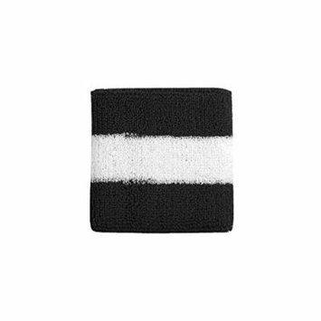 Striped Cotton Terry Cloth Moisture Wicking Wrist Band (Black/White)