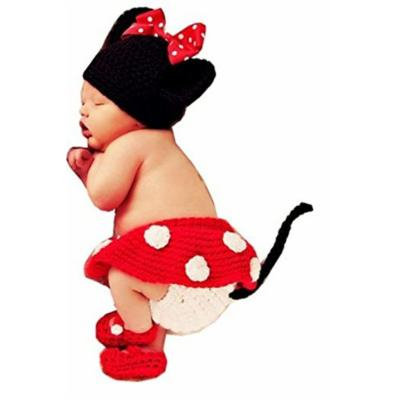 Crochet Minnie Mouse Outfit Diaper Cover Skirt Bootie Hat Set Costume Photo Prop