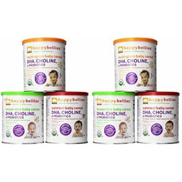 Happy Bellies Organic Super Cereals, DHA, Multi 6-Pack (2 each Brown Rice, Oatmeal, Multigrain 7oz)