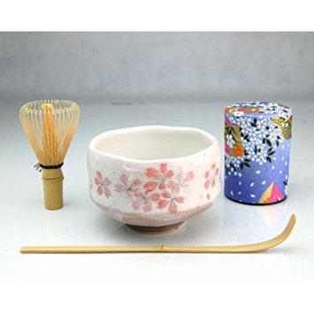Ryu Mei Beginner Kyoto Ceremony Green Tea Set with Organic Matcha Green Tea Powder, Chawan Tea Set Bowl Bamboo Spoon Bamboo Whisk and a Washi Caddy Tin 527-24 Japan Purple Sakura