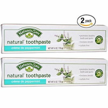 Nature's Gate All Natural Creme de Peppermint Toothpaste, Flouride and Artifical Sweetener Free With Peppermint Essential Oil and Baking Soda For Healthy Mouth & Fresh Breath, 6 oz. (Pack of 2)