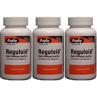 Reguloid Psyllium Husk Natural Vegetable Bulk Forming Laxative Fiber Supplement Capsules Therapy for Regularity Generic for Metamucil 160 Capsules per Bottle PACK of 3 Total 480 Caps.