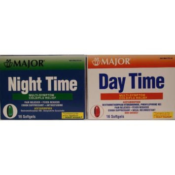 Cold and Flu Multisymptom Relief Rapid Release Gelcaps Day Time/ Night Time Combo Generic for DayQuil NyQuil 16 AM/16 PM Gelcaps Total 32 Gelcaps