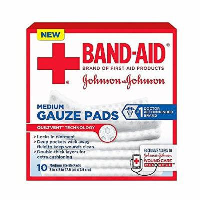 JOHNSON & JOHNSON Band-Aid First Aid Gauze Pads 3 Inches X 3 Inches 10 Each (Pack of 2)