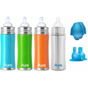 Pura Kiki Infant / Toddler Bottle Stainless Steel - 4 pack Combo - 11oz. - Boy Colors