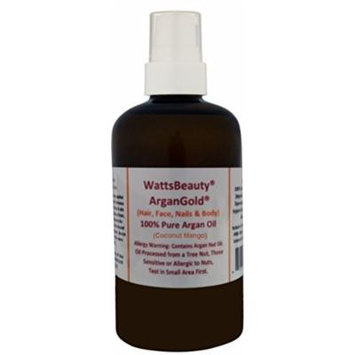 Watts Beauty Coconut Mango ArganGoldTM Argan Oil 100% Pure Raw, Cold Pressed Argan Oil with a Few Drops of Coconut Mango Oil Blend for Face, Hair & Body - All Natural Virgin Argan Oil Direct From Morocco - Lose Yourself in the Scrumptious Aroma of This...