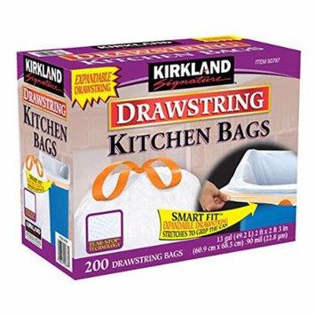 New Kirkland Signature White Drawstring Kitchen Trash Bags 13 Gallon 200 Ct