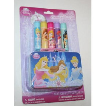 Disney Princess 5 Flavored Lip Balms Includes Collectible Tin Carrying Case