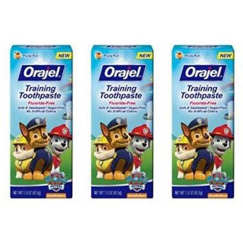 Orajel Toddler Paw Patrol Training Toothpaste, Fruity Fun 1.5 Oz (Pack of 3)