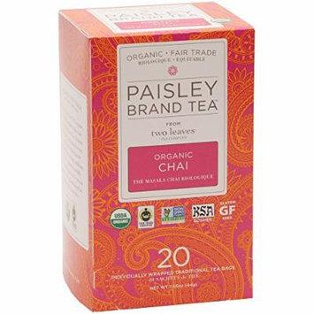 Paisley Brand Tea from two leaves tea company Organic Chai, 20-tea bags, 1.55-oz., box(Pack of 1)