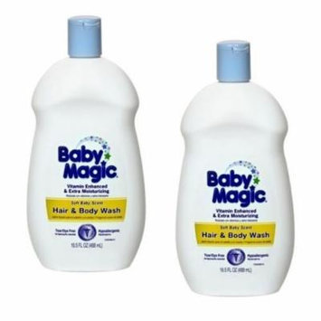 2 Baby Magic Hair & Body Wash Soft Baby Scent 16.5 oz each