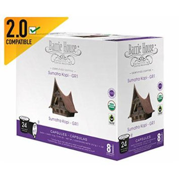 Barrie House Organic & Fair Trade Certified Sumatra Kopi Gr-1 Single Cup Capsules (24 Capsules)