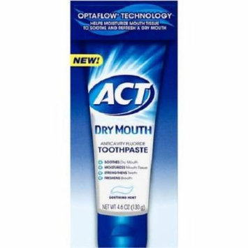 Act Dry Mouth Anticavity Fluoride Toothpaste, Soothing Mint, 4.6 Oz Pack of 2