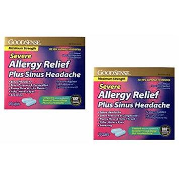 GoodSense Severe Allergy Relief + Sinus Headache, 20 Caplets - 2 Pack (40 Total), Compare to Benadryl Severe Allergy Plus Sinus Headache
