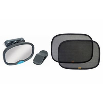 BRICA Deluxe Stay-in-Place Mirror for In Car Safety with Pop Open Cling Window Shade, 2-Count
