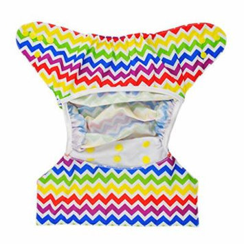 Cloth Diaper Cover Snap Adjustable Waterproof Nappy Cover Double Gussets Rainbow