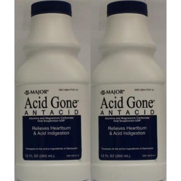 Acid Gone Antacid Liquid Generic for Gaviscon Regular Strength Liquid Antacid, Spearmint Flavor, 12-Oz Bottles Pack of 2 Bottles
