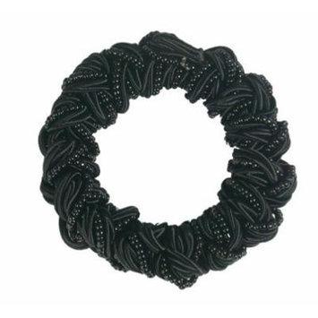 Smoothies Woven Beaded Satin Cord Elastic-Black 01614
