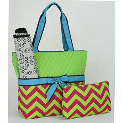 Quilted Chevron Print (Fuchsia/Lime/Turquoise) 3-Piece Cotton Diaper Bag Set with Changing Pad and Small Zipper Tote (Monogram Ready)