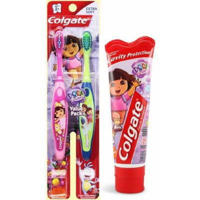 Make Brushing fun With Dora The Explorer!! Ready...Set...Brush! 3 Piece Set Includes: (2) Colgate Dora The Explorer Extra Soft Manual Toothbrushes & (1) Colgate Dora The Explorer Fluoride Toothpaste, Wild Bubble Fruit 4.6 oz