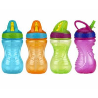 Nuby 10 Ounce Flip-And-Tip Hard Straw Cup - 4 Pack (Blue/Orange/Green/Pink)