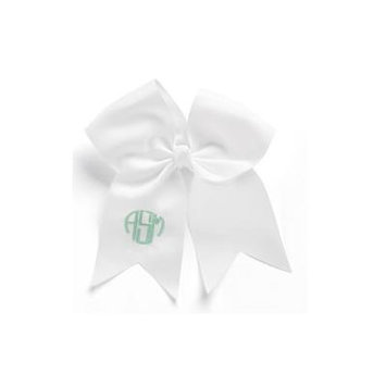 Personalized Hair Bow, White, font:circle initials, color:mint