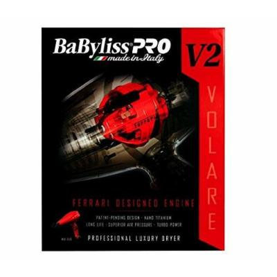 BaByliss MID SIZE Nano Titanium Hair Blow Dryer with Ferrari Designed V12 - 2000 Watt Engine, 2 Variably Shaped Accessory Nozzles Included