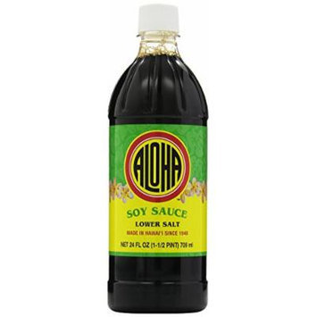Aloha Shoyu Soy Sauce Lower Salt, 24 Ounce (Pack of 12)